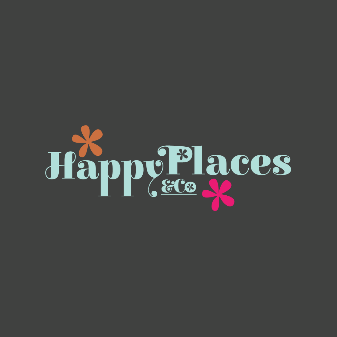 Happy Places & Co logo in aqua on dark background