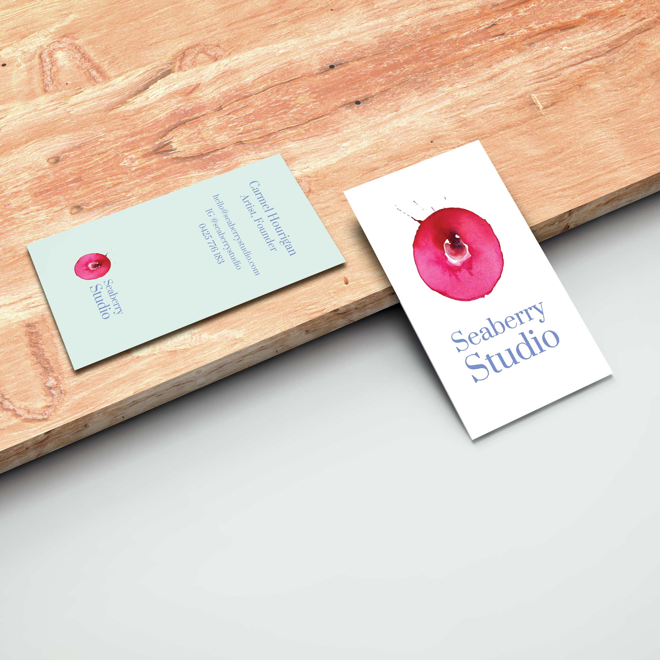 Business card and logo design by Paige Digital for Seaberry studio