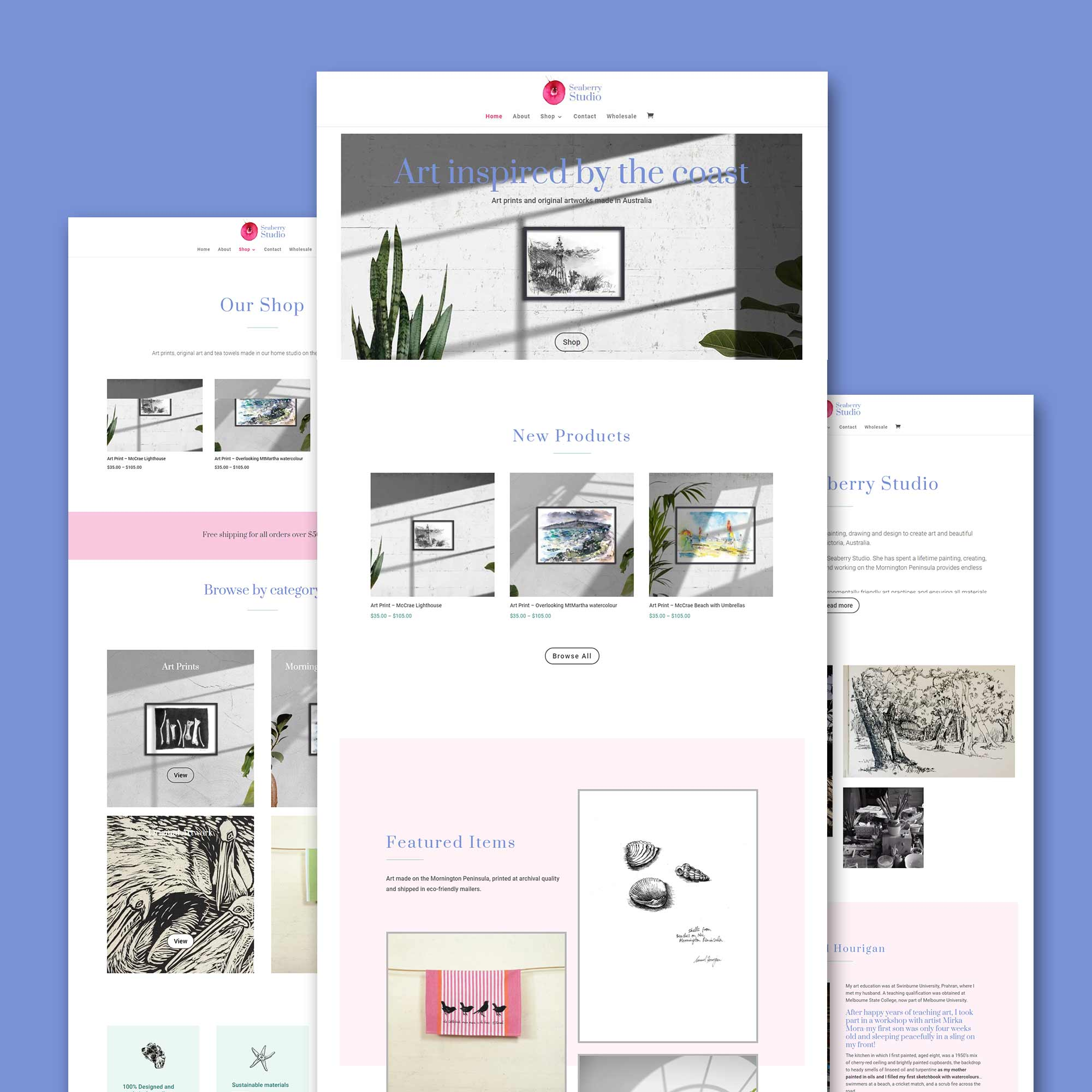 3 web designs by Paige Digital with blue background