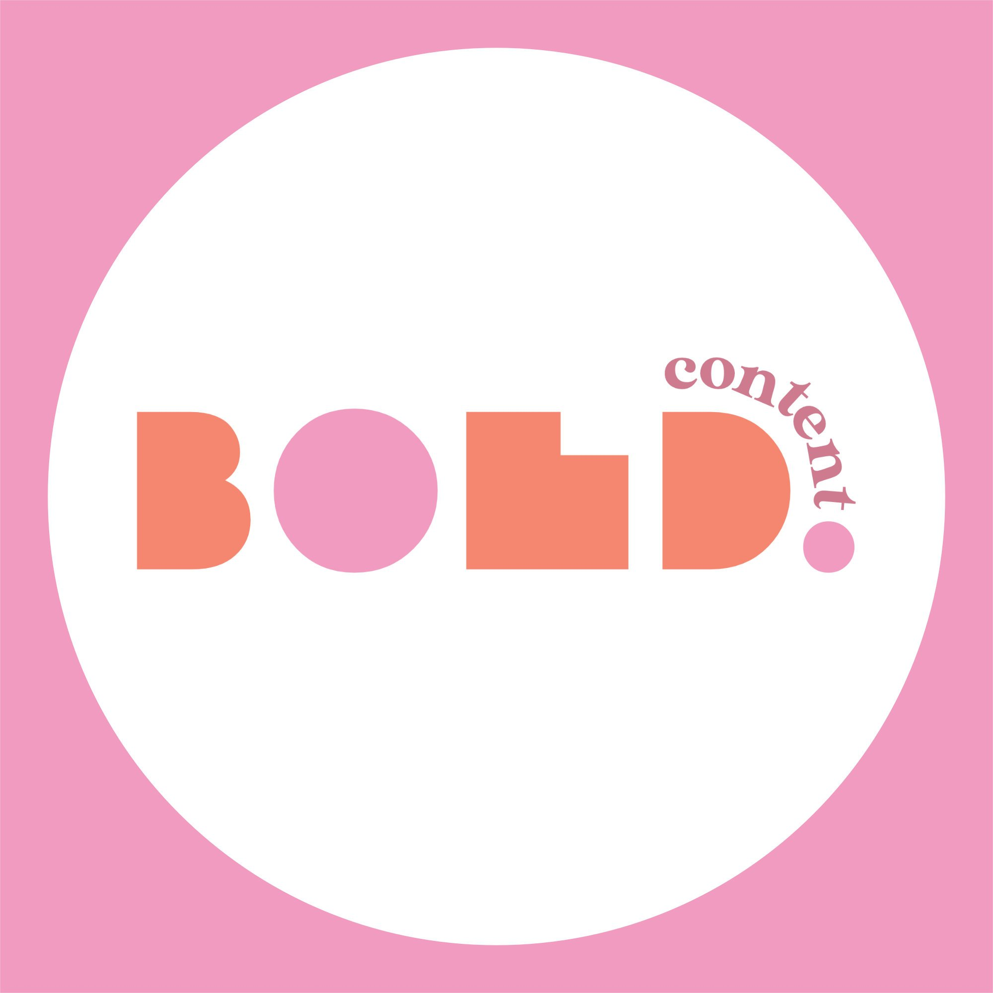 Bold Content logo in thick orange and pink lettering, on white circle with pink background