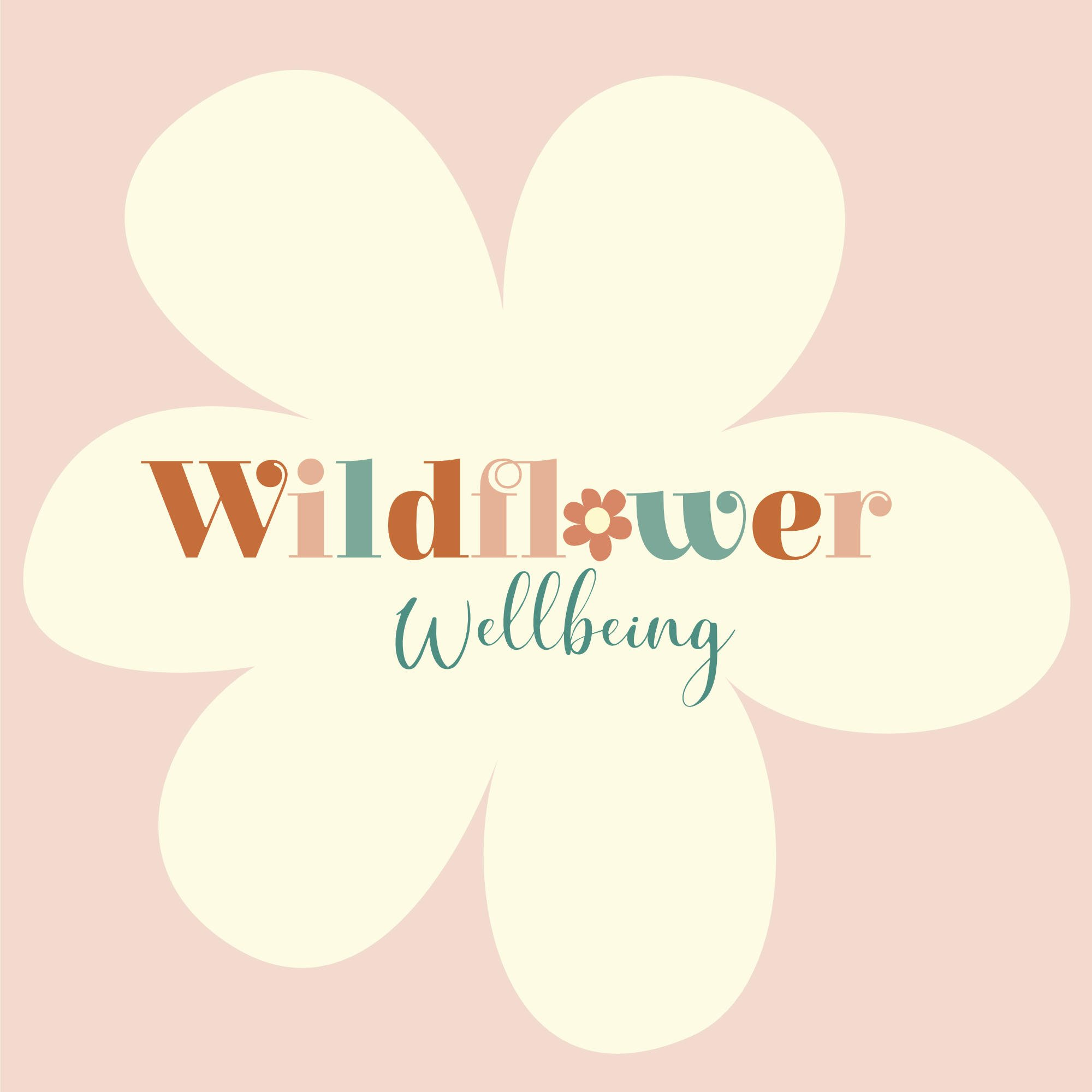 Multi colour Wildflower wellbeing logo on cream flower with pale pink